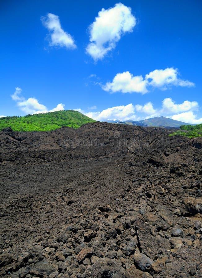 Campo de lava en Mt. el Etna foto de archivo libre de regalías