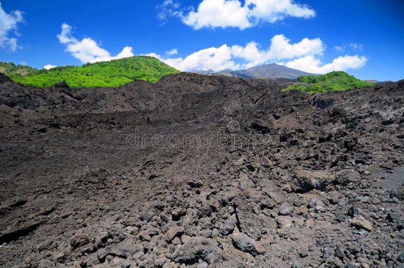 Campo de lava vulcânico do Mt Etna fotografia de stock