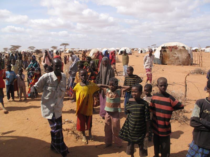 Campo de refugiado del hambre de Somalia fotografía de archivo