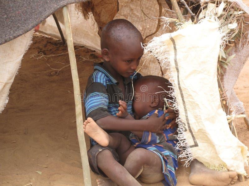 Campo de refugiado del hambre de Somalia foto de archivo