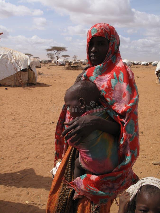 Campo de refugiado del hambre de Somalia fotos de archivo