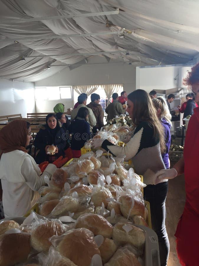 Campo de refugiados imagens de stock