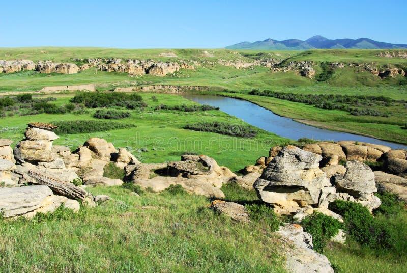 Campo de River Valley y de la piedra arenisca imagenes de archivo