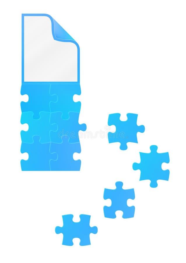 Campo de rompecabezas con el documento sobre el top ilustración del vector
