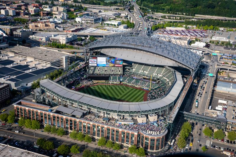 Campo de Safeco visto de cima de gameday em Seattle Washington foto de stock