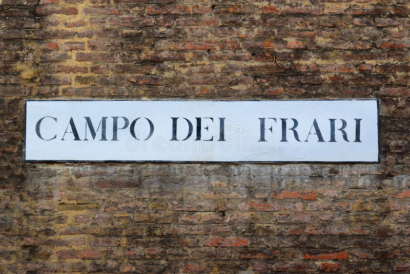 Campo dei Frari, street plate in Venice, Italy royalty free stock photos
