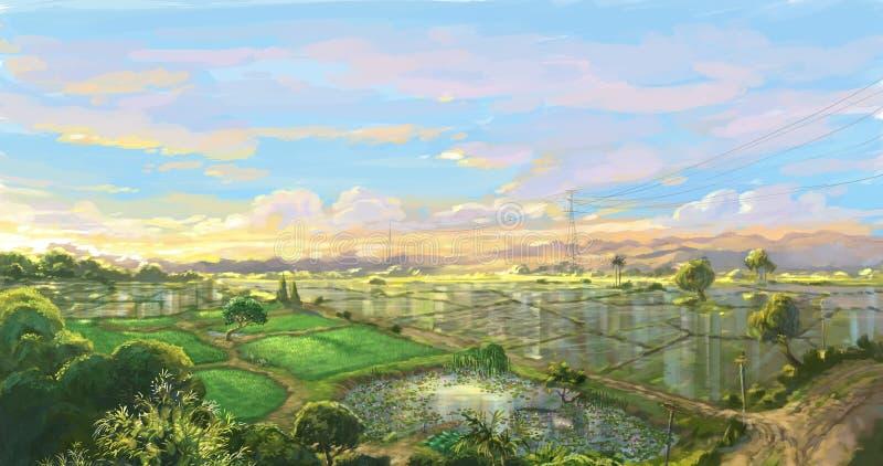 Campo del arroz de la puesta del sol en la estación de lluvias libre illustration