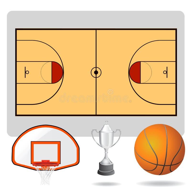 Campo del baloncesto, bola y vector de los objetos stock de ilustración
