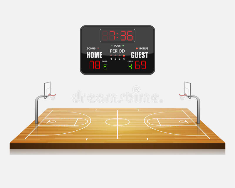 Campo del baloncesto con un marcador stock de ilustración