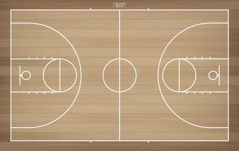 Campo del baloncesto para el fondo Opinión superior la cancha de básquet con la línea área del modelo ilustración del vector
