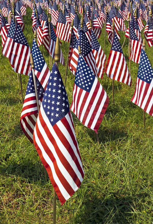 Campo delle bandierine degli Stati Uniti fotografie stock libere da diritti