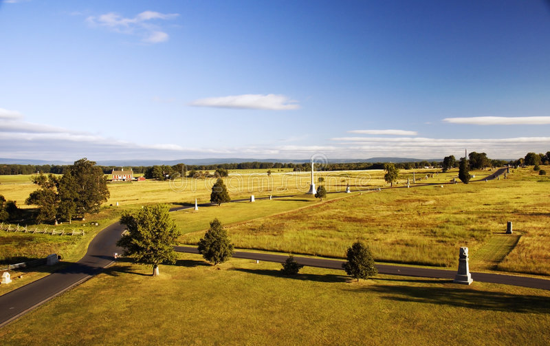Campo di battaglia di Gettysburg dalla parte superiore del monumento della Pensilvania fotografia stock