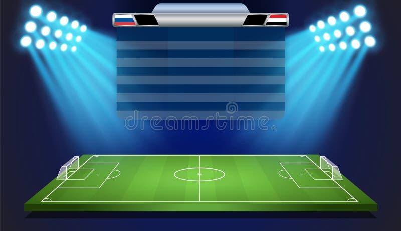 Campo di calcio con il tabellone segnapunti royalty illustrazione gratis