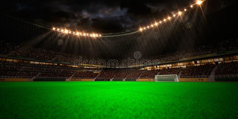 Campo di calcio dell'arena dello stadio di notte immagini stock