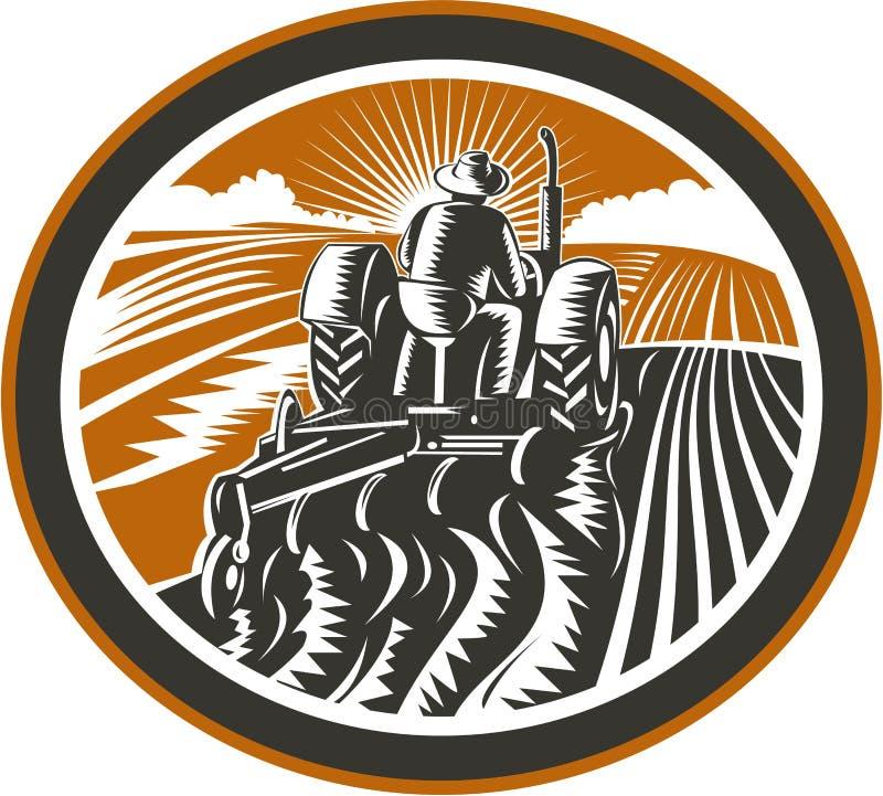 Campo di Driving Tractor Plowing dell'agricoltore retro royalty illustrazione gratis