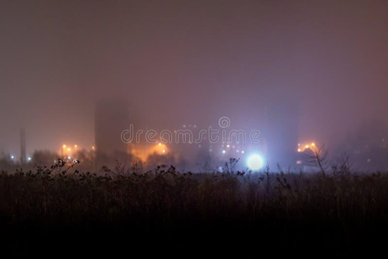 Campo di erba scuro asciutto davanti al ghetto depressivo della periferia di notte nebbiosa con fotografia stock libera da diritti