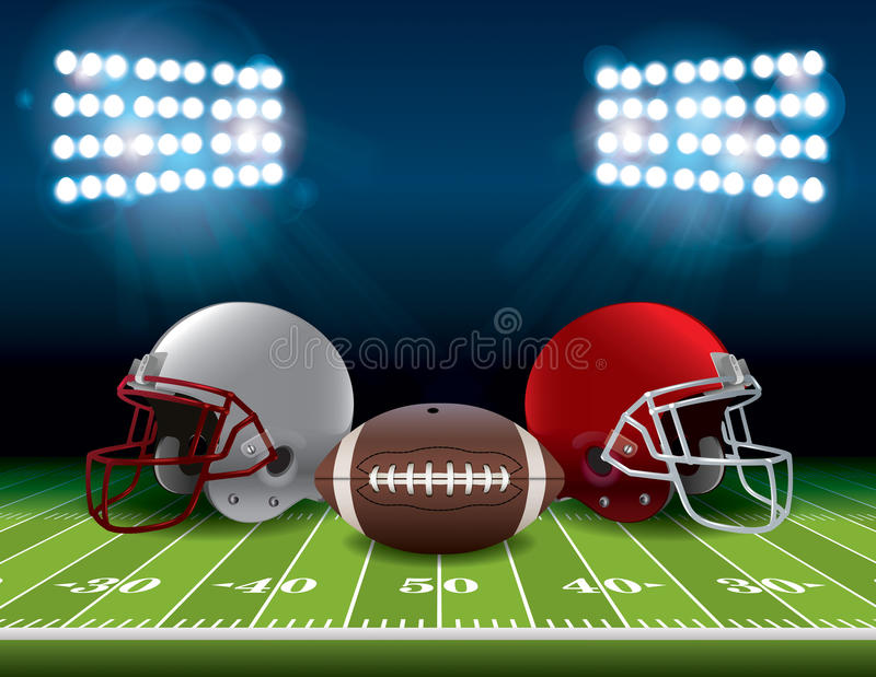 Campo di football americano con i caschi e l'illustrazione della palla royalty illustrazione gratis