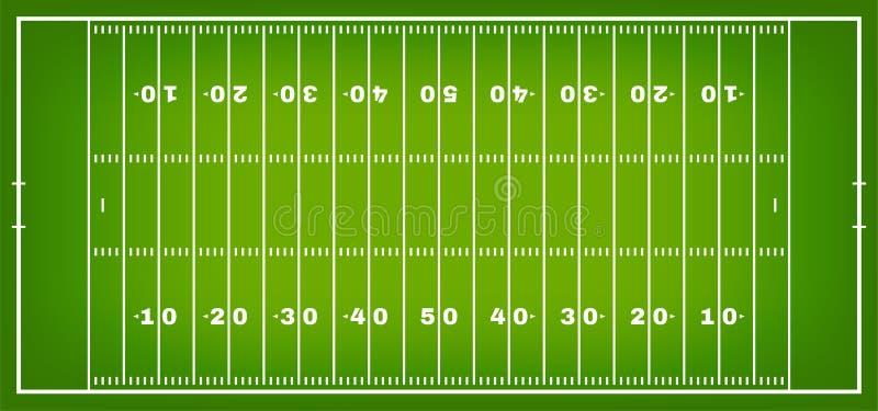 Campo di football americano con la marcatura Campo di football americano nella vista superiore con il margine di profitto bianco illustrazione vettoriale