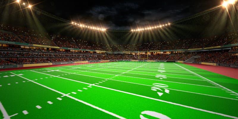 Campo di football americano dell'arena dello stadio di notte immagine stock libera da diritti