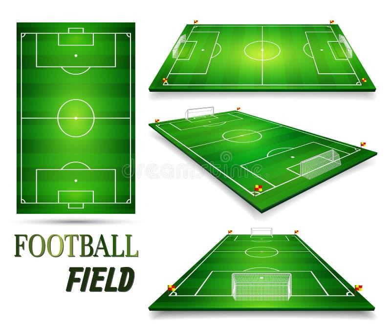 Campo di football americano, insieme del campo di calcio illustrazione di vettore di prospettiva ENV 10 Stanza per la copia illustrazione vettoriale