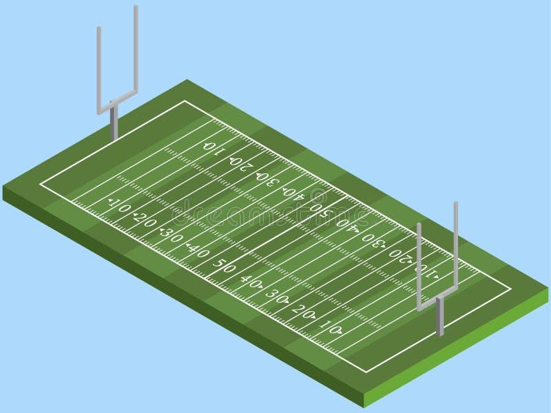 Campo di football americano isometrico nel vettore illustrazione di stock