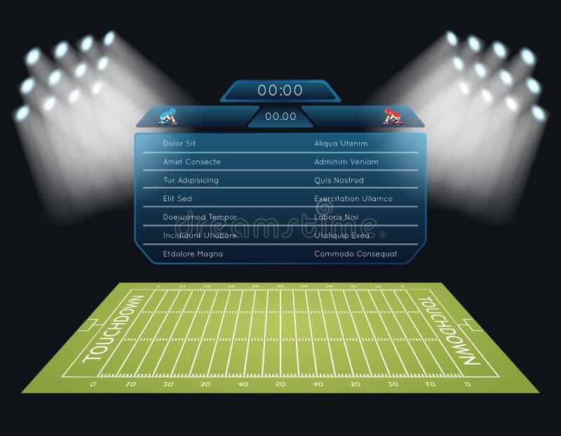 Campo di football americano realistico di vettore con illustrazione di stock
