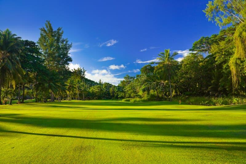Campo di golf alle Seychelles immagine stock