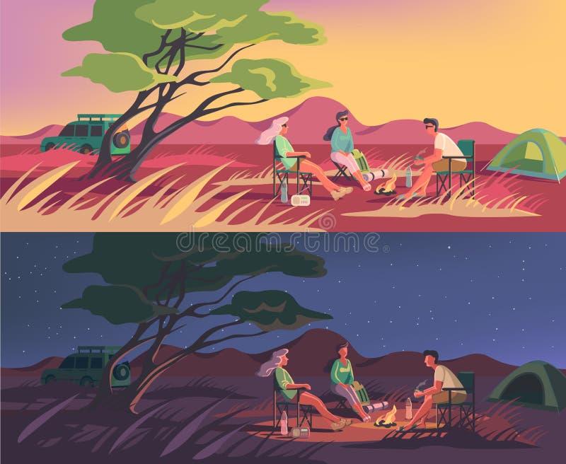Campo di inverno o di estate in un australiano o in un deserto africano royalty illustrazione gratis