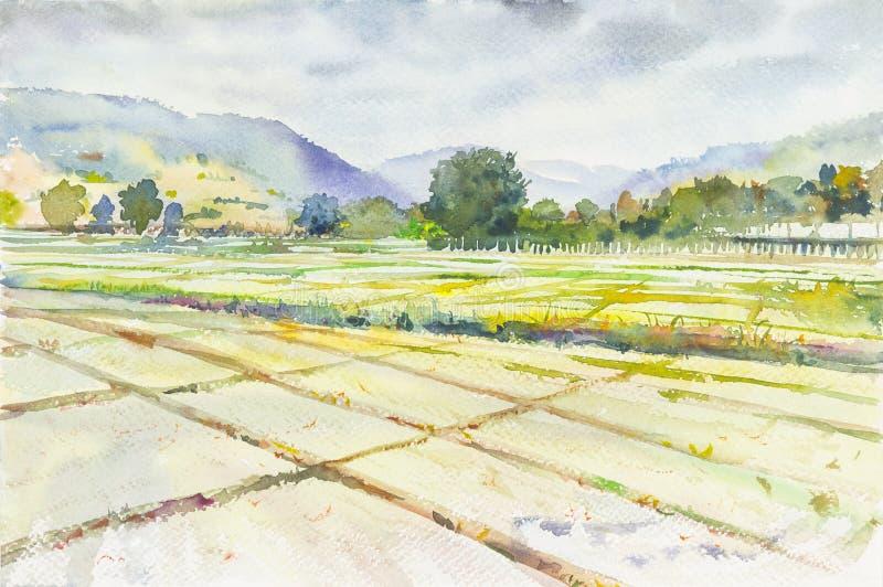 Campo di mais del campo di mais della pittura del paesaggio dell'acquerello e montagna di emozione illustrazione vettoriale