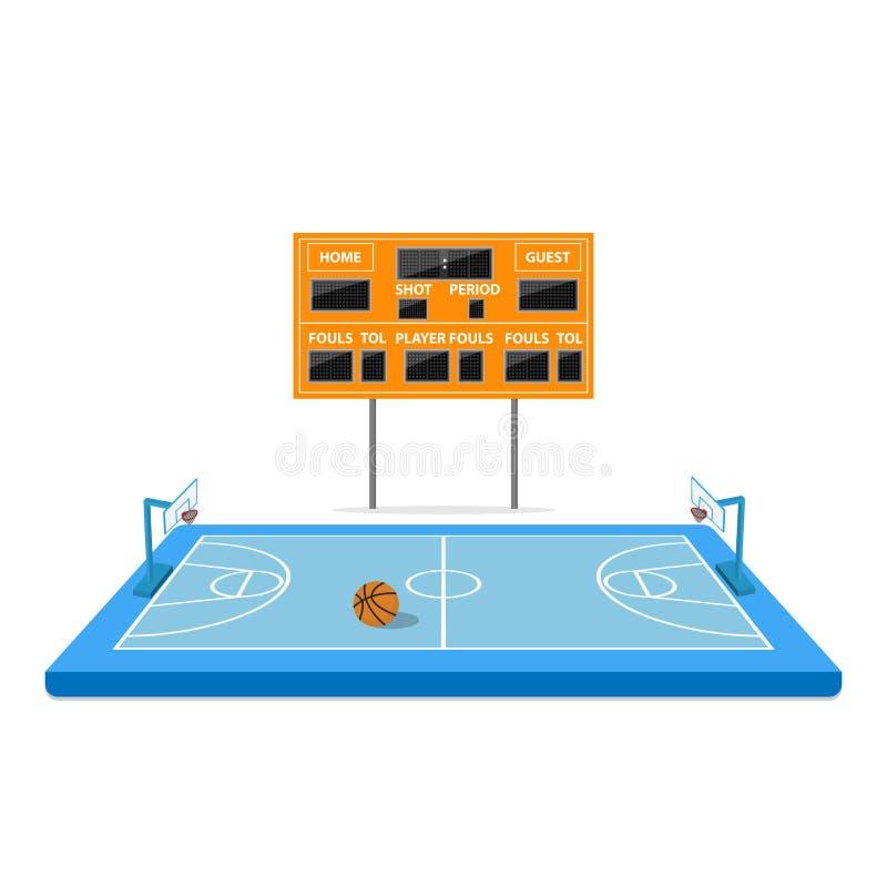 Campo di pallacanestro con il tabellone segnapunti vuoto royalty illustrazione gratis