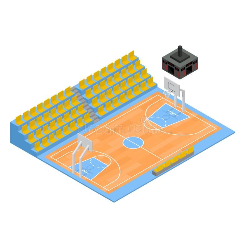 Campo di pallacanestro e vista isometrica della tribuna 3d Vettore royalty illustrazione gratis