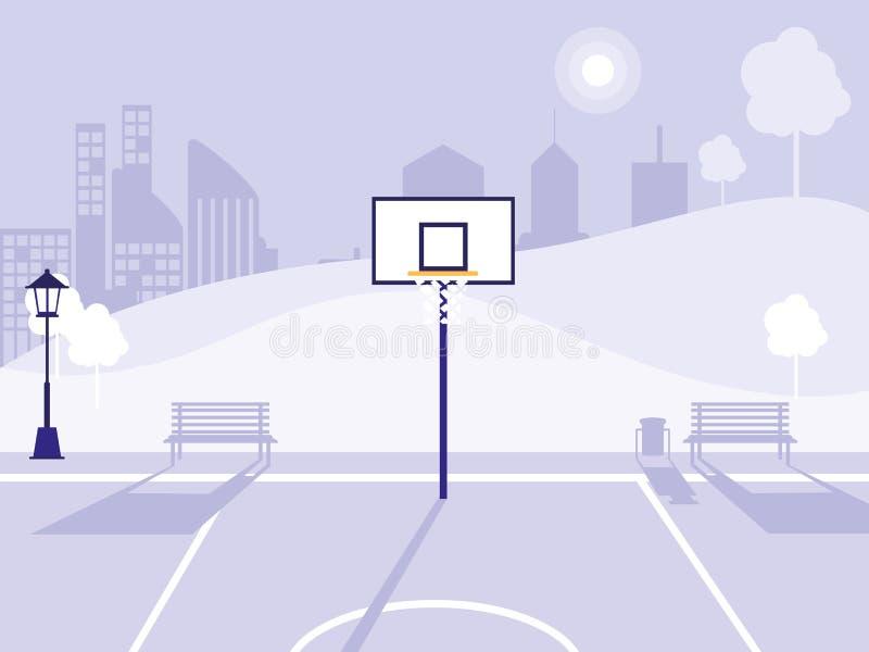 Campo di pallacanestro ed icona isolata parco illustrazione di stock