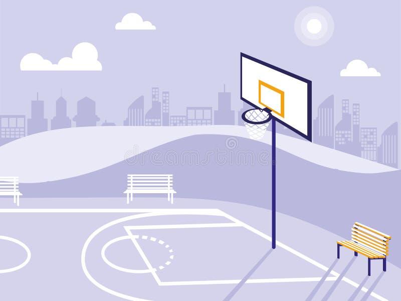 Campo di pallacanestro ed icona isolata parco illustrazione vettoriale
