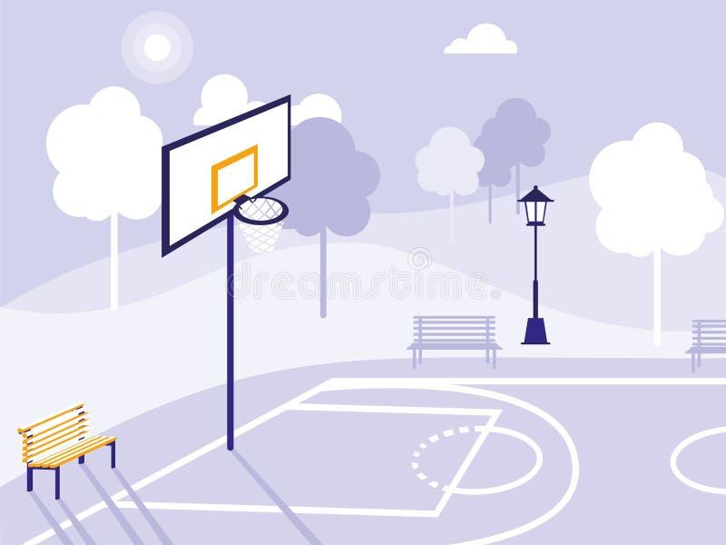 Campo di pallacanestro ed icona isolata parco royalty illustrazione gratis
