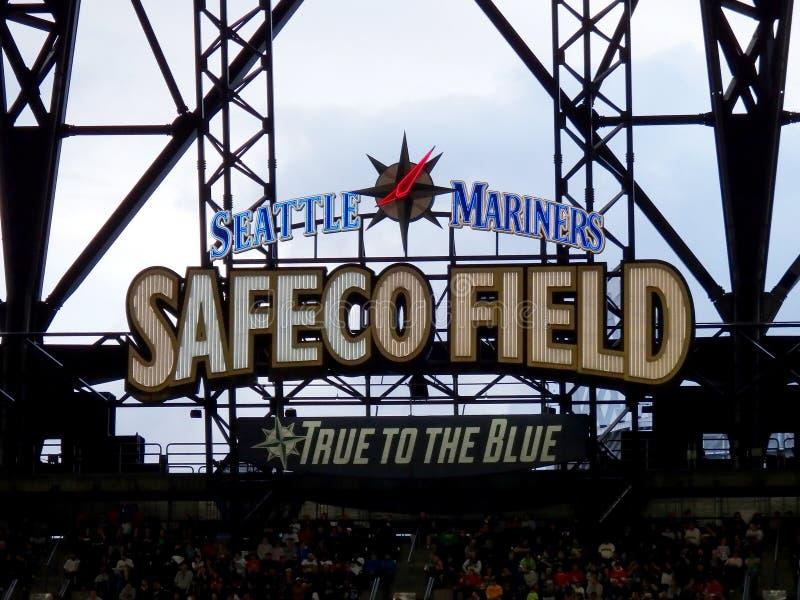Campo di Safeco di Seattle Mariners vero al segno blu fotografia stock libera da diritti