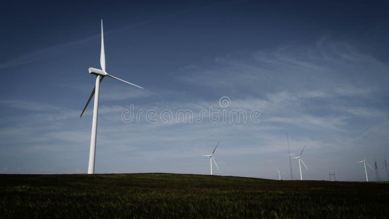 Campo di tecnologia del generatore eolico fotografia stock libera da diritti
