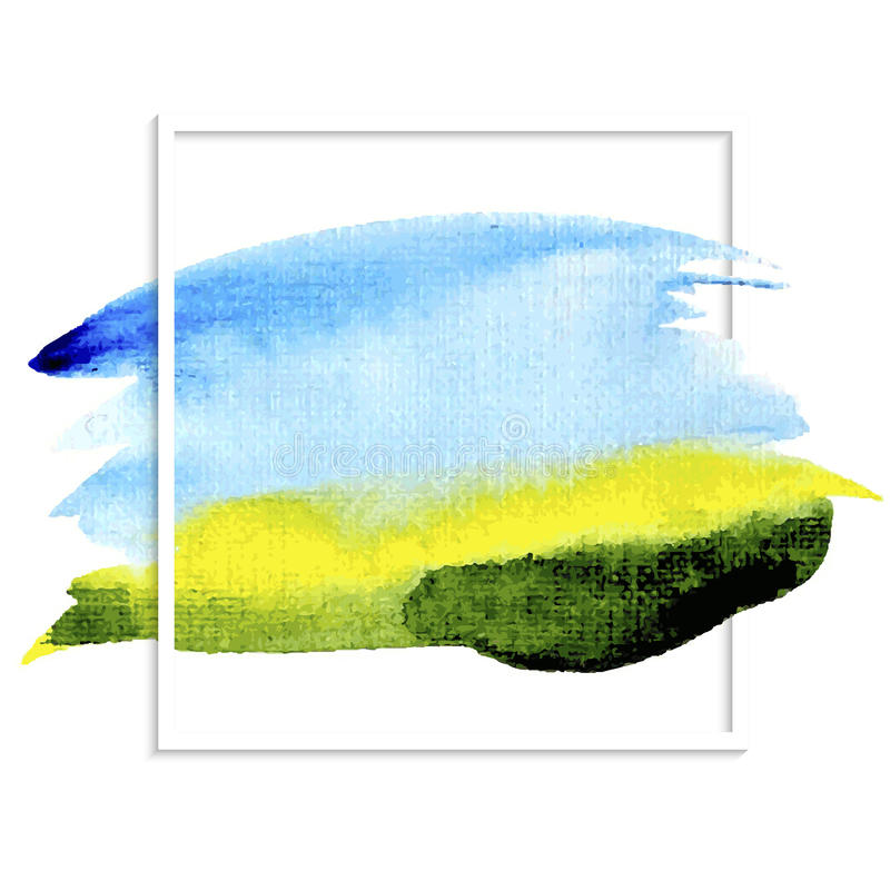 Campo di verde del cielo blu del fondo dell'acquerello illustrazione di stock