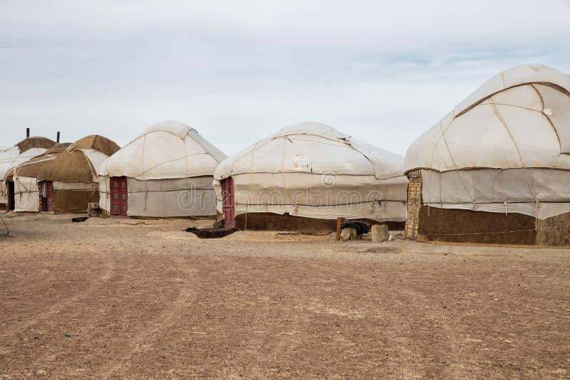 Campo di Yurt, l'Uzbekistan immagine stock libera da diritti