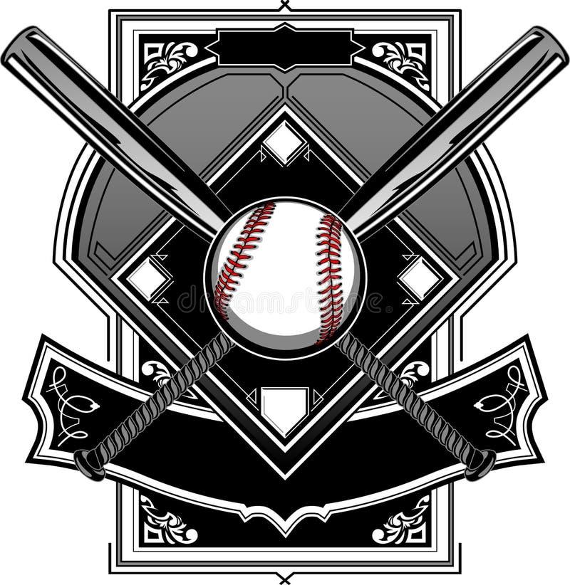 Campo do basebol ou do softball com bastões ilustração do vetor