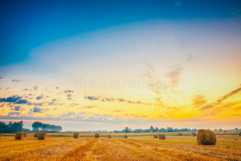 Campo do nascer do sol, Hay Bale In Belarus foto de stock