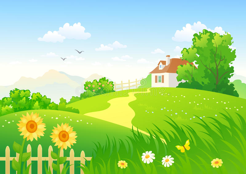 Campo do verão ilustração royalty free