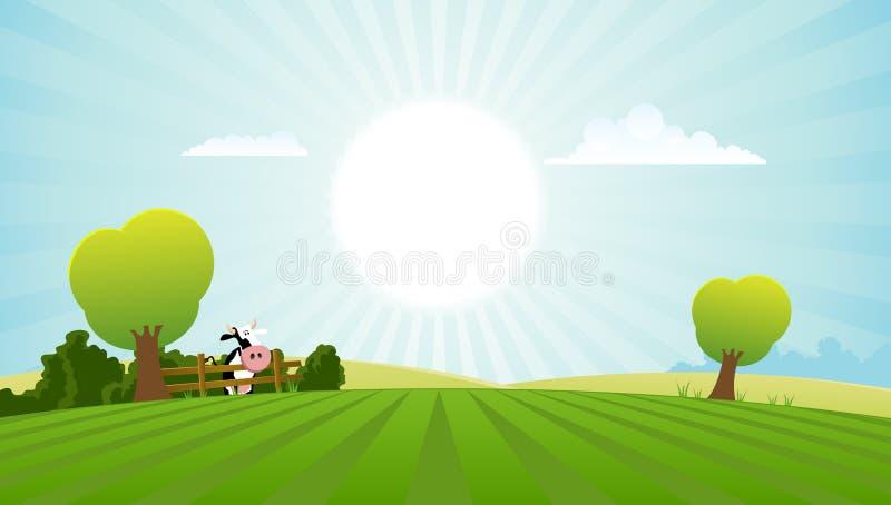 Campo dos desenhos animados com vaca de leiteria