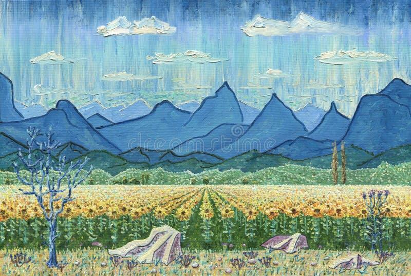 Campo dos girassóis e das montanhas ilustração royalty free