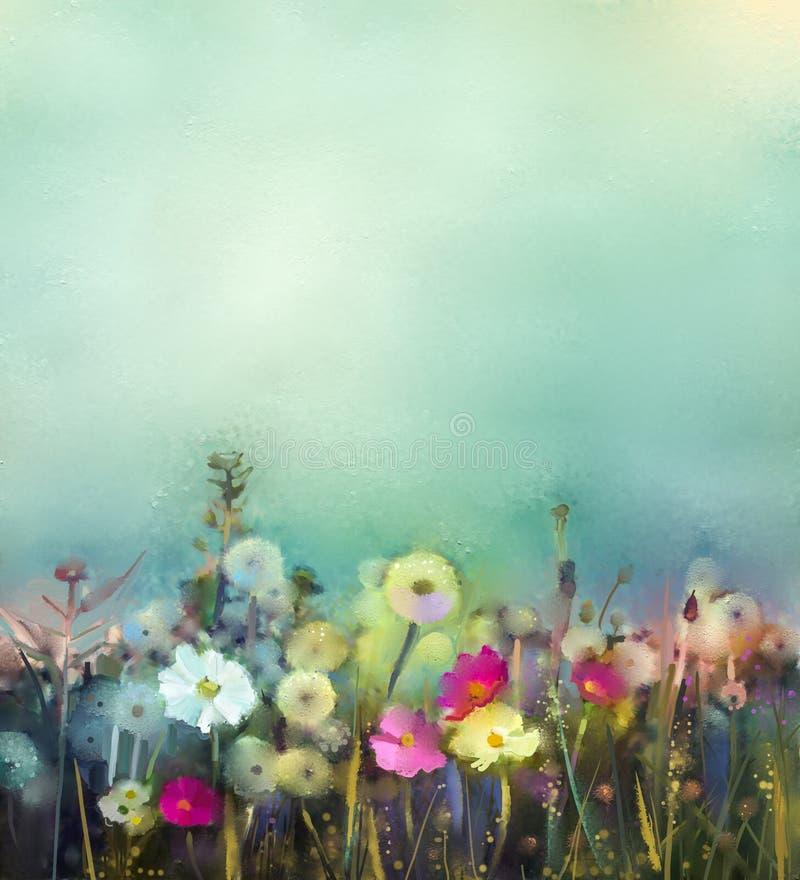 Campo dos Wildflowers da pintura a óleo no prado do verão ilustração do vetor