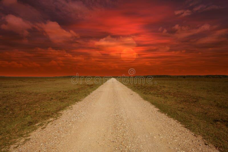 Campo durante puesta del sol imagen de archivo libre de regalías