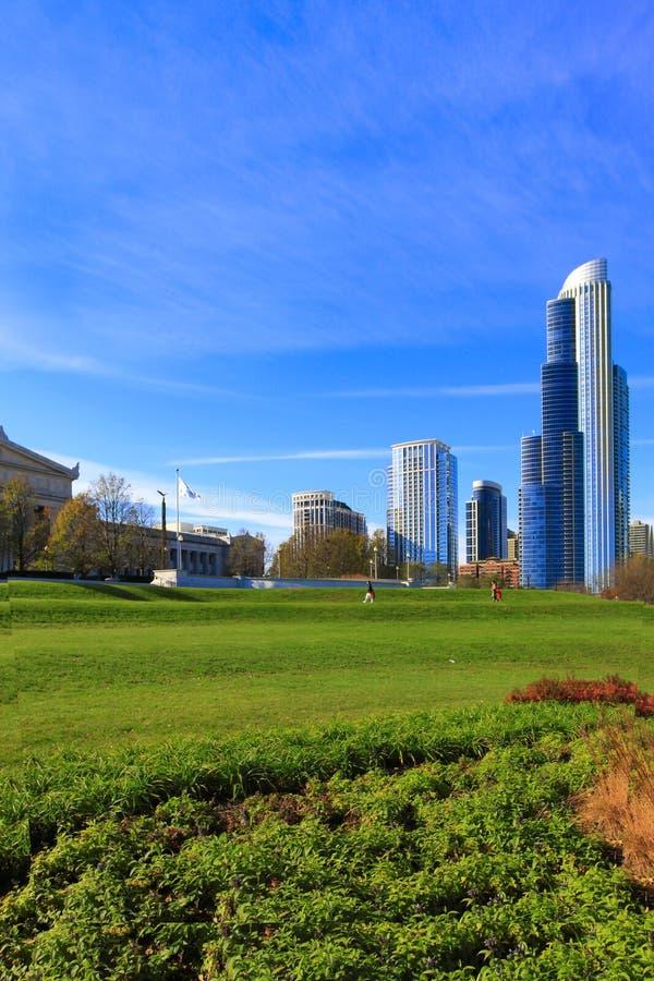 Campo e arranha-céus gramíneos em Chicago imagens de stock