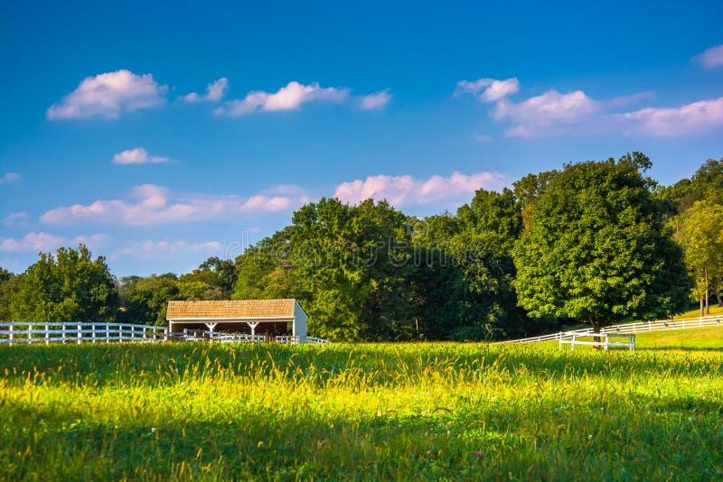 Campo e stalla dell'azienda agricola in Howard County, Maryland fotografia stock libera da diritti