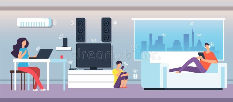 Campo eletromagnético na casa O pessoa sob o EMF acena dos dispositivos e dos dispositivos Vetor eletromagnético da poluição ilustração royalty free