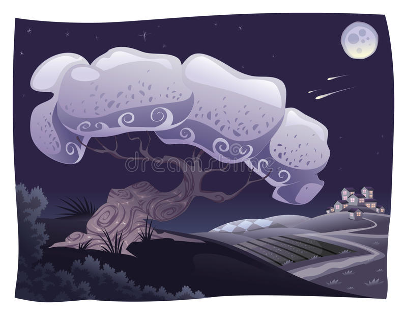 Campo en la noche. stock de ilustración
