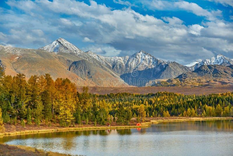 Campo en las montañas cerca del lago Paisaje hermoso del otoño imagen de archivo